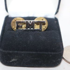 EMT silver and gold lapel/collar pin